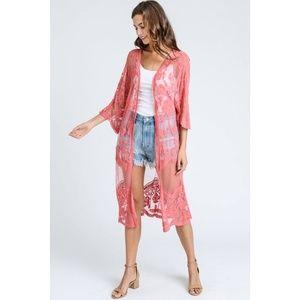 Sweaters - Long Lace Kimono Cardigan in Raspberry New